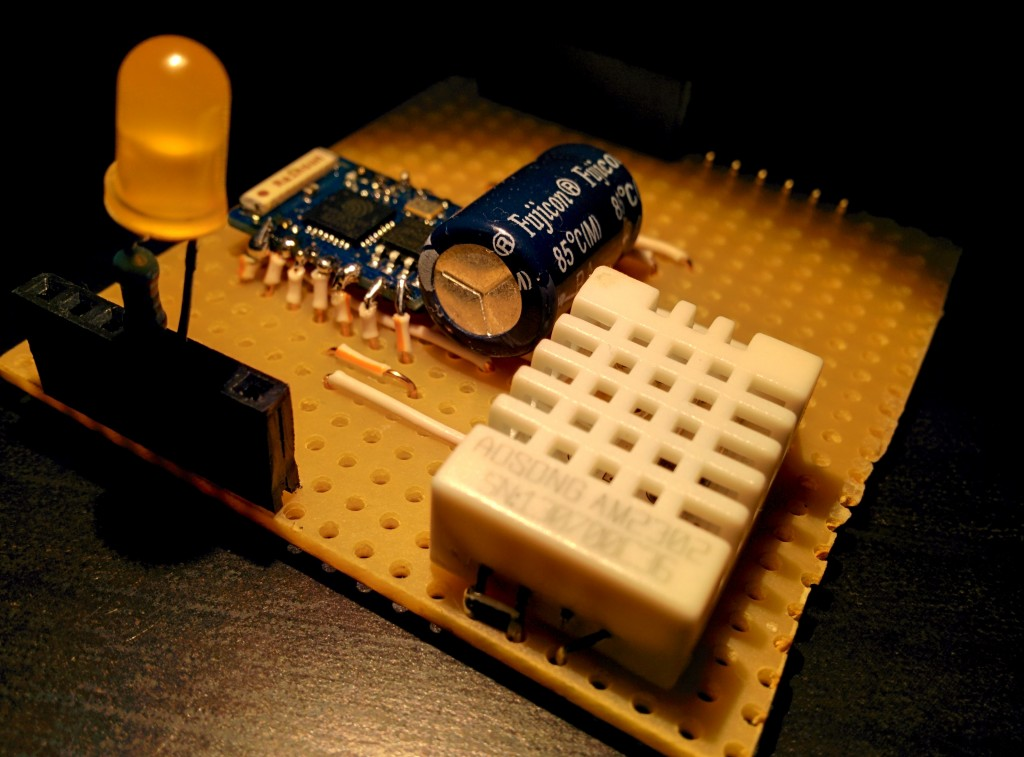 ESP8266 powered web server + LED control + DHT22 temperature/humidity sensor reading