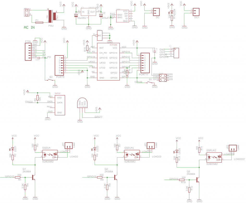 Wifi Iot 3 Channel Relay Board With Mqtt And Http Api Using Esp8266 Solid State Project V2 Schematic