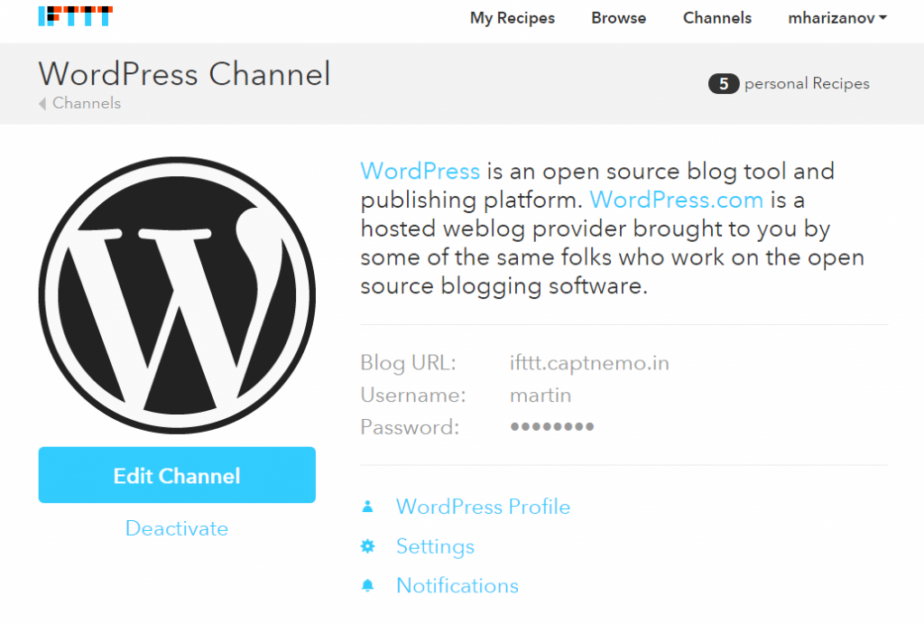 wordpress ifttt