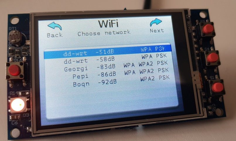 TFT32 Wi-Fi configuration GUI